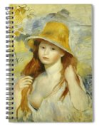 Young Girl With A Straw Hat Spiral Notebook