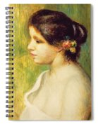 Young Woman With Flowers At Her Ear Spiral Notebook
