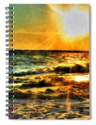 0009 Windy Waves Sunset Rays Spiral Notebook