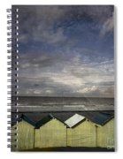 Beach Huts Under A Stormy Sky Vintage-look. Normandy. France Spiral Notebook