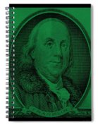 Ben Franklin In Dark Green Spiral Notebook