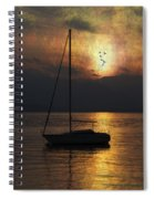 Boat In Sunset Spiral Notebook