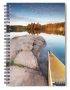 Canoe At A Rocky Shore Autumn Nature Scenery Spiral Notebook