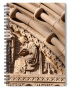 Carved Stone Biblical Mural Above Catholic Cathedral Doorway Spiral Notebook