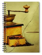 Coffee Mill And Beans In Grunge Style Spiral Notebook
