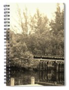 Dock On The River In Sepia Spiral Notebook