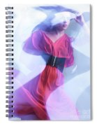 Fashion Photo Of A Woman In Shining Blue Settings Wearing A Red  Spiral Notebook