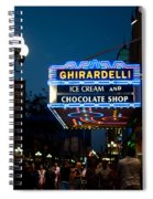 Ghirardelli Chocolate Signs At Night Spiral Notebook