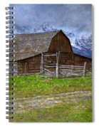Grand Teton Iconic Mormon Barn Fence Spring Storm Clouds Spiral Notebook