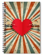 Heart And Cupid With Ray Background Spiral Notebook