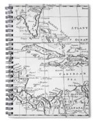 Map Of The West Indies Florida And South America Spiral Notebook