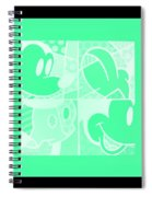 Mickey In Negative Light Green Spiral Notebook