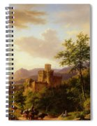 Travellers On A Path In An Extensive Rhineland Landscape Spiral Notebook