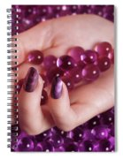 Woman Hand With Purple Nail Polish On Candy Spiral Notebook