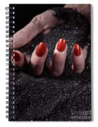 Woman Hand With Red Nails On Black Sand Spiral Notebook