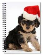Yorkipoo Pup Wearing Christmas Hat Spiral Notebook