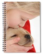Young Girl With Yellow Labrador Spiral Notebook