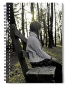 Girl Sitting On A Wooden Bench In The Forest Against The Light Spiral Notebook