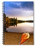 Lake Sunset With Canoe On Beach Spiral Notebook