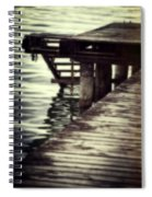 Old Wooden Pier With Stairs Into The Lake Spiral Notebook