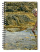 Young Girl Exploring A Maine Tidepool Spiral Notebook