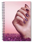 Woman Hand With Purple Nail Polish Spiral Notebook
