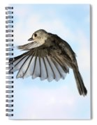 Tufted Titmouse In Flight Spiral Notebook