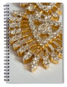 A Beautiful Gold And Diamond Pendant On A White Background Spiral Notebook