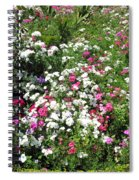 A Bed Of Beautiful Different Color Flowers Spiral Notebook