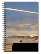 A Bird Outlined Against The Setting Sky At Dover Castle Spiral Notebook