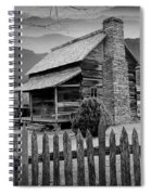 A Black And White Photograph Of An Appalachian Mountain Cabin Spiral Notebook