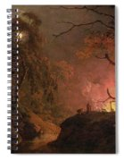 A Cottage On Fire At Night Spiral Notebook