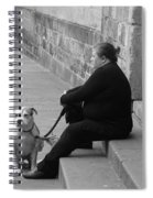 A Lady With Her Dog In Barcelona Spiral Notebook