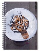 A Lot Of Cigarettes Stubbed Out At A Garbage Bin Spiral Notebook