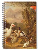A Macaw - Ducks - Parrots And Other Birds In A Landscape Spiral Notebook