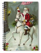 A Merry Christmas Card Of Santa Riding A White Horse Spiral Notebook
