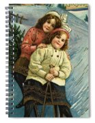 A Merry Christmas Postcard With Sledding Girls Spiral Notebook