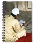A Pious Devotee Reading The Quran Inside The Jama Masjid In Delhi Spiral Notebook