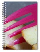 A Plastic Fork Being Used To Cut Into A Piece Of Cut Apple Pieces Spiral Notebook