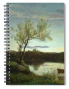 A Pond With Three Cows And A Crescent Moon Spiral Notebook