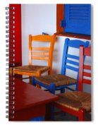 Colorful Table And Chairs Greece Spiral Notebook
