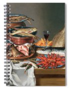 A Still Life Of A Fish Trout And Baby Lobsters Spiral Notebook