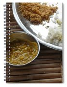 A Typical Plate Of Indian Rajasthani Food On A Bamboo Table Spiral Notebook