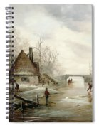 A Winter Landscape With Figures Skating Spiral Notebook