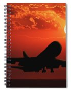 Airplane Landing At Sunset Spiral Notebook