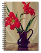 Amaryllis Lillies In A Dark Glass Jug Spiral Notebook