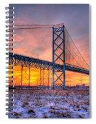 Ambassador Bridge Sunrise 1-16-2012  Detroit Mi Spiral Notebook