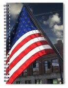American Flag Flowing In Urban Landscape Spiral Notebook