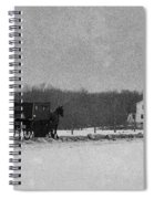 Amish Buggy Black And White Spiral Notebook