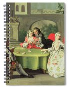 An Ornamental Garden With Elegant Figures Seated Around A Card Table Spiral Notebook